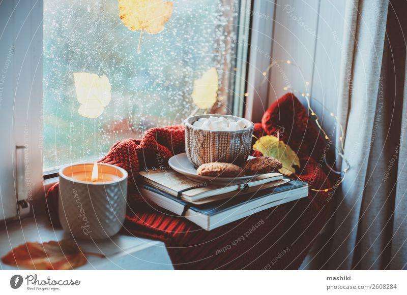 gemütlicher Herbstmorgen zu Hause. Heißer Kakao mit Marshmallows Frühstück Kaffee Tee Lifestyle Leben Erholung Wetter Regen Blatt heiß Geborgenheit bequem Tasse