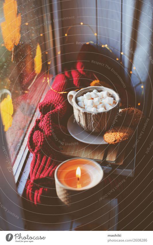 gemütlicher Herbstmorgen zu Hause. Heißer Kakao mit Marshmallows Frühstück Kaffee Tee Lifestyle Leben Erholung Buch Wetter Regen Blatt heiß Geborgenheit bequem