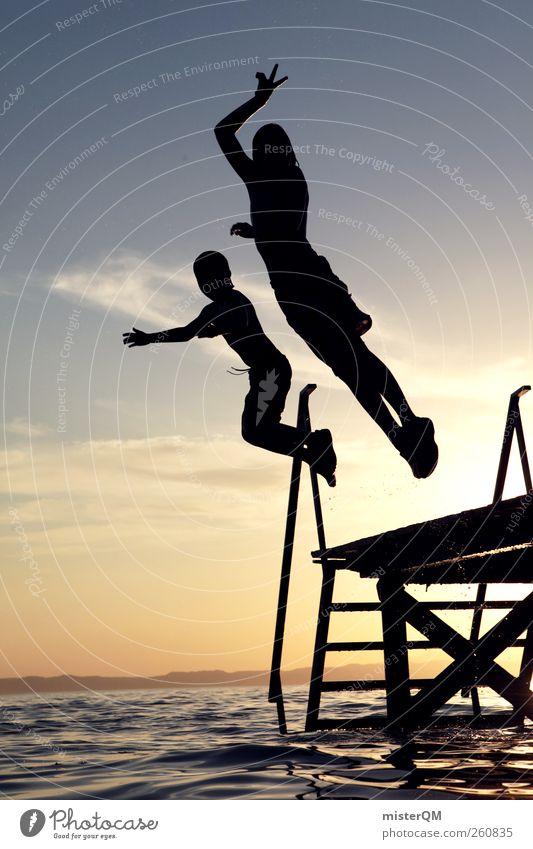 Some time in Life. Kunst See Steg Freude lustig Jugendliche springen Freiheit Horizont toben Sommer Sommerurlaub Ferien & Urlaub & Reisen Urlaubsstimmung