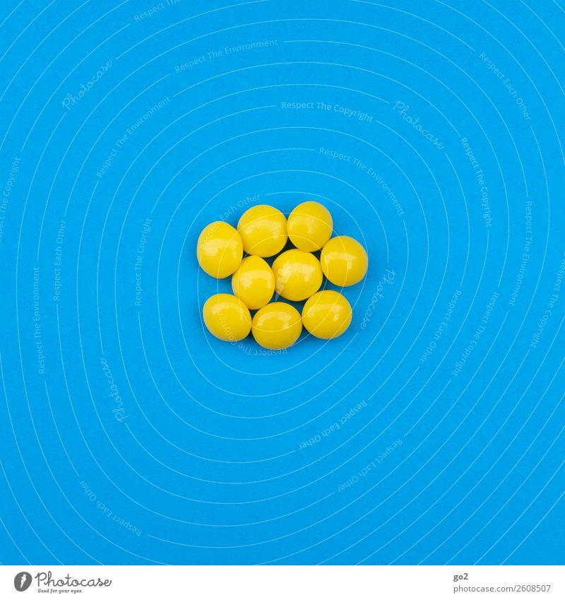 Gelbe Pillen Lebensmittel Süßwaren Bonbon Ernährung Gesundheit Gesundheitswesen Behandlung Medikament ästhetisch lecker rund blau gelb Drogensucht Fitness