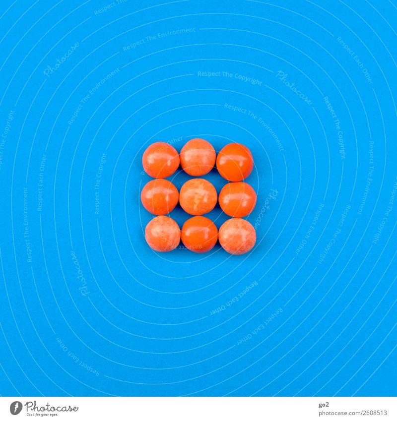 Orange Pillen Lebensmittel Süßwaren Schokolade Ernährung Diät Fasten Gesundheit Gesundheitswesen Behandlung Medikament ästhetisch lecker rund blau orange