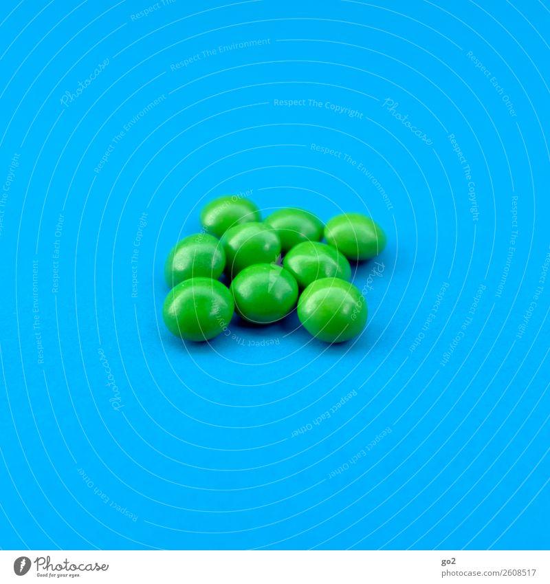 Grün wirkt! Lebensmittel Süßwaren Ernährung Diät Gesundheit Gesundheitswesen Medikament lecker rund blau grün Erschöpfung Drogensucht ästhetisch Konkurrenz