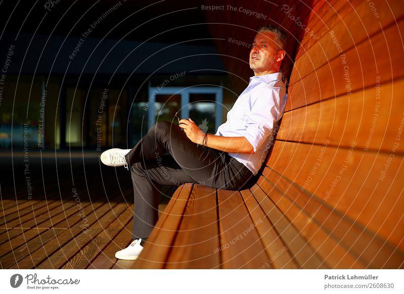 Businesspause Lifestyle Stil Wirtschaft Handel Medienbranche Kapitalwirtschaft Mittelstand Karriere Mensch maskulin Erwachsene Körper 1 45-60 Jahre Sommer