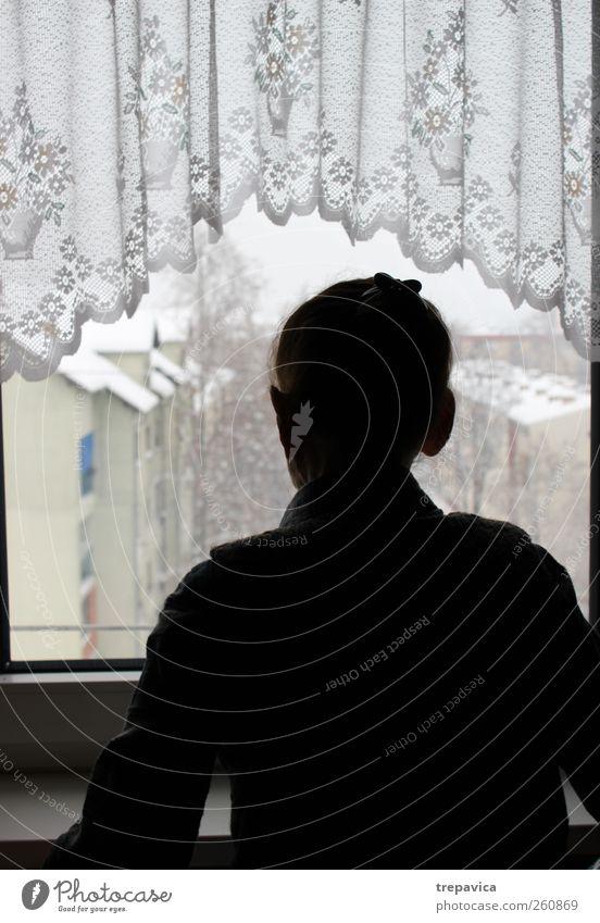 nana III Großmutter Frau Fenster alt Einsamkeit Gardine Rücken Reihe Langeweile Traurigkeit Blick Senior 60 und älter Silhouette beobachten Winter