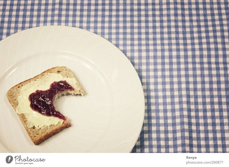 Angefressen blau weiß Ernährung Lebensmittel Appetit & Hunger Frühstück Teller Trennung Brot kariert Liebeskummer Tischwäsche Enttäuschung Toastbrot