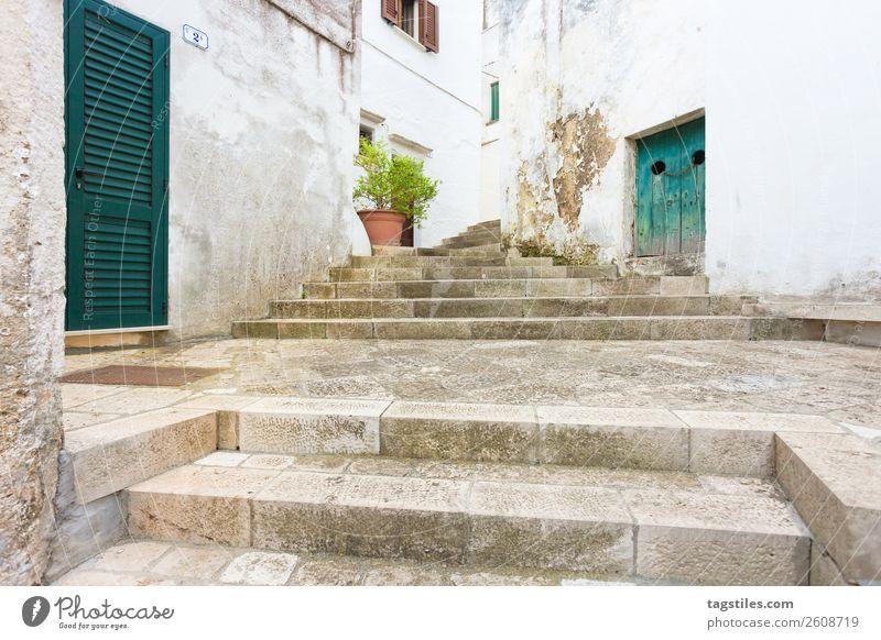 Specchia, Apulien - Aufstieg über eine historische Treppe Gasse antik Architektur Scheunentor Hochsitz Gebäude Großstadt geschlossen zuhalten zugeklappt