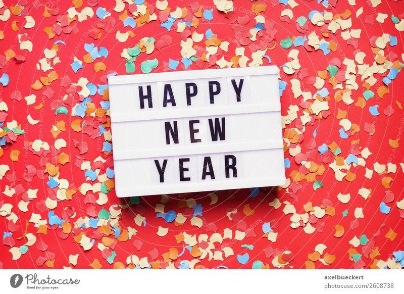 happy new year party celebration flat lay with confetti rot Hintergrundbild Lifestyle Feste & Feiern Party Freizeit & Hobby Schilder & Markierungen