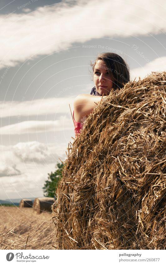 ein blick sagt mehr als tausend worte Ferne Sommer Sonnenbad Mensch feminin Junge Frau Jugendliche Erwachsene Leben Kopf 1 18-30 Jahre Natur Landschaft Himmel