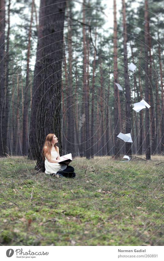 inspiration Junge Frau Jugendliche 1 Mensch 18-30 Jahre Erwachsene Maler Buch lesen Natur Baum Gras Rock blond rothaarig Zettel Schreibstift Holz zeichnen
