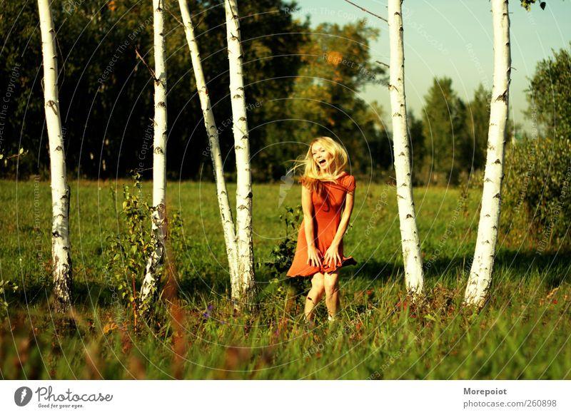 Mensch Natur Jugendliche Hand Baum Pflanze Sommer Erwachsene Gesicht feminin Gefühle Gras Kopf Haare & Frisuren Wärme Park