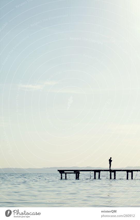 Piece. Mensch Wasser Einsamkeit ruhig Kunst See Zufriedenheit Idylle ästhetisch Wellness Seeufer Konzentration Meditation Steg Anlegestelle abgelegen