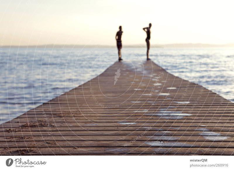 Good Old Days. Wasser Ferien & Urlaub & Reisen Sommer Holz springen See Kunst Horizont ästhetisch Zukunft Idylle Seeufer Vergangenheit Steg Sommerurlaub