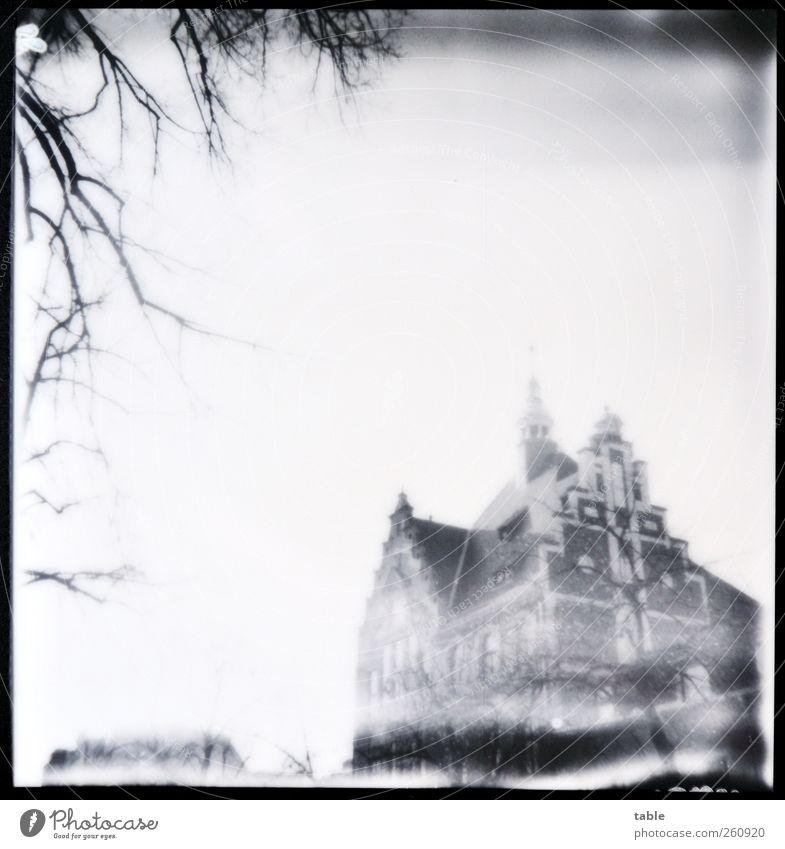 Bonjour Tristesse Himmel alt weiß Baum Winter schwarz Haus Berlin Gefühle Architektur grau Fassade ästhetisch stehen Dach retro