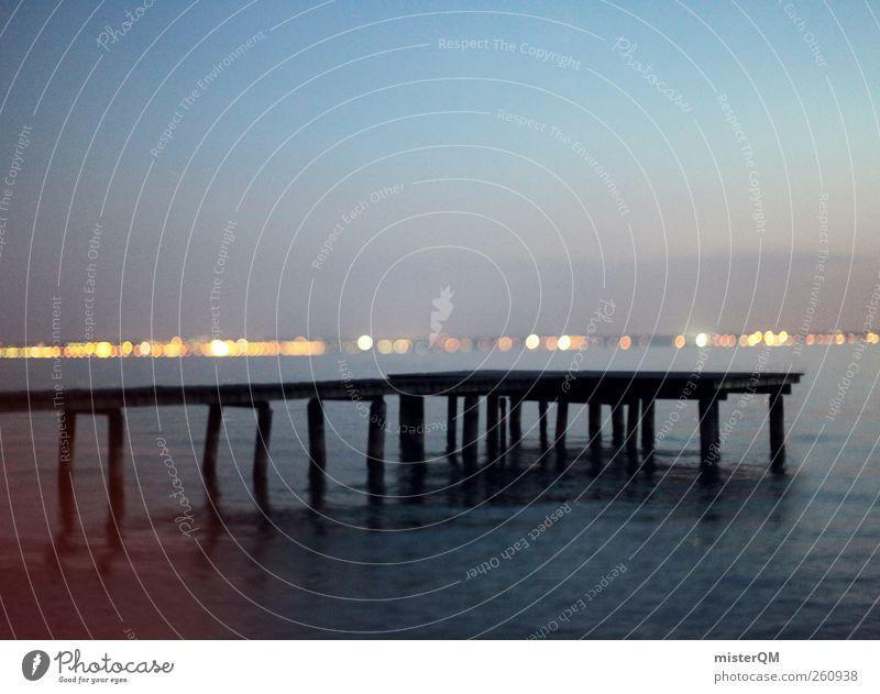 Once. Wasser See Kunst ästhetisch Romantik Idylle Italien Seeufer Steg Surrealismus Wasseroberfläche friedlich Dämmerung Gardasee Licht