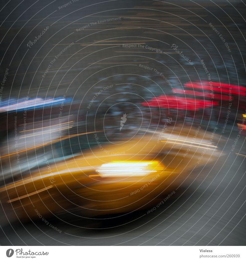 In the city gelb Bewegung Geschwindigkeit Autofahren Straßenverkehr Eile New York City Taxi Verkehrsmittel Raser Geschwindigkeitsrausch