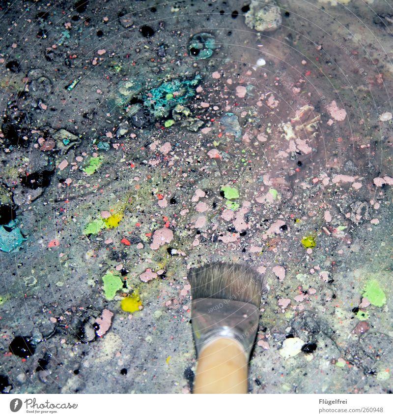 222 Kunst Kreativität Farbstoff Pinsel malen Studium Waschbecken dreckig Farbfleck Farbspritzer Acrylfarbe Farbfoto mehrfarbig Innenaufnahme