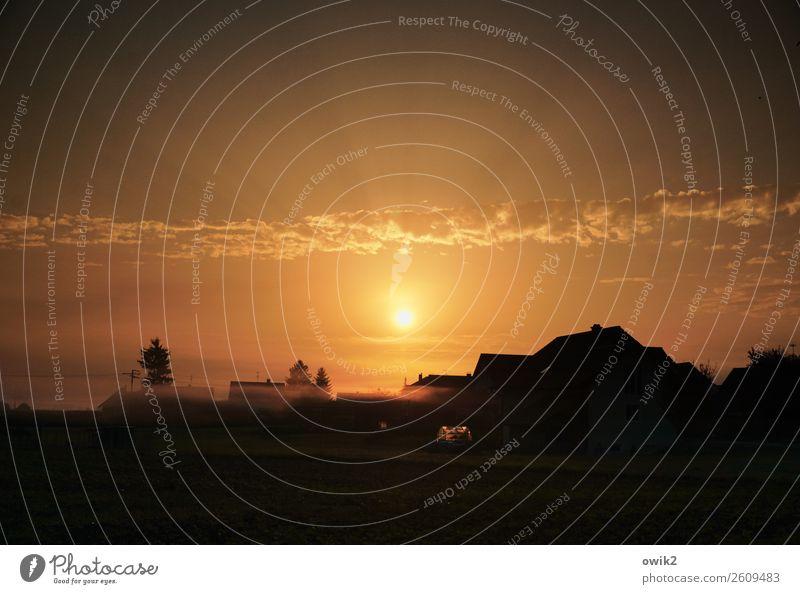 Morgen in Teugn Umwelt Natur Landschaft Luft Himmel Wolken Horizont Sonne Schönes Wetter Kelheim Bayern Dorf Skyline bevölkert Haus leuchten glänzend