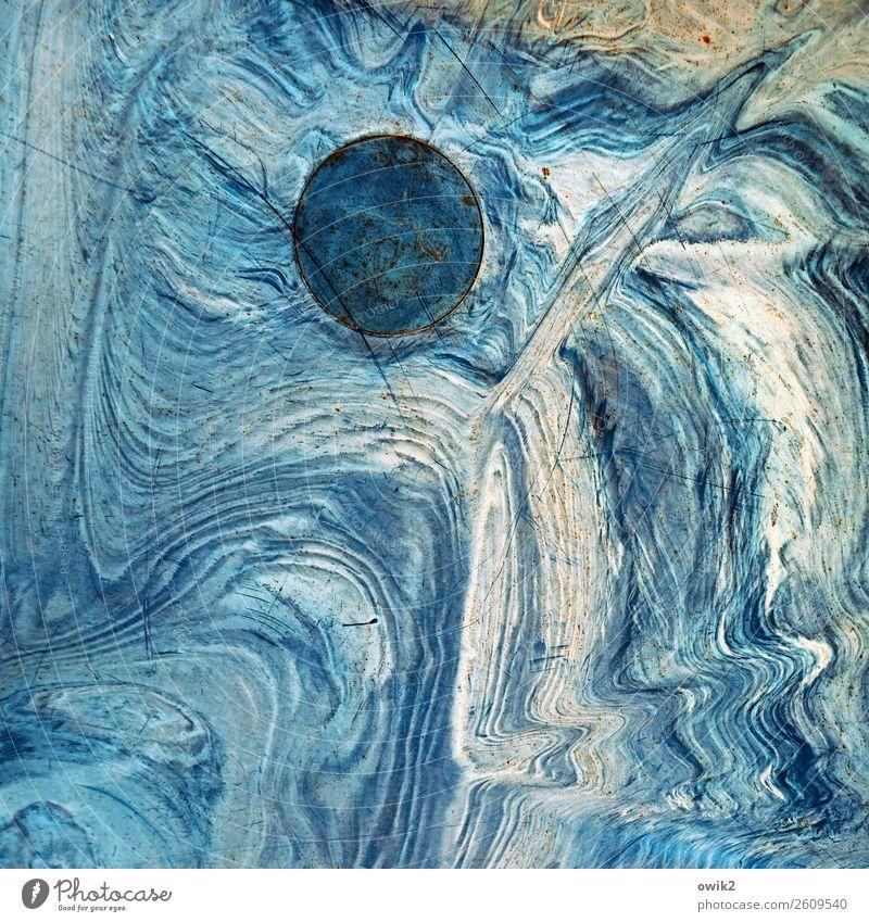 Blauer Planet Landschaft Urelemente Kreis rund Schliere Kunststoff Bewegung wild blau türkis Schramme Kratzer Mond Mondlandschaft Galaxie Farbfoto Außenaufnahme