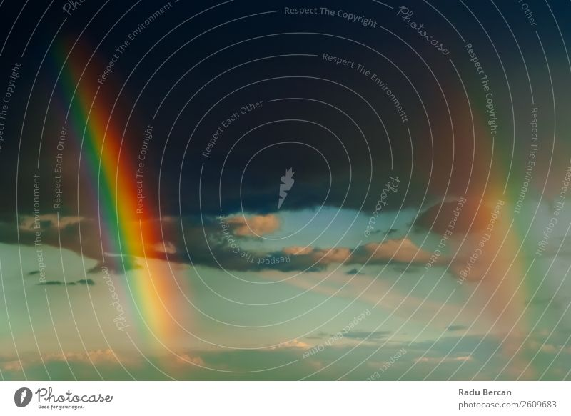 Doppelter Regenbogen nach starkem Regensturm Sommer Sommerurlaub Sonne Tapete Umwelt Natur Landschaft Luft Himmel Wolken Horizont Sonnenaufgang Sonnenuntergang