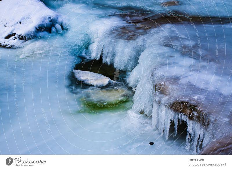 Eisiges Wasser 2 Natur Landschaft Urelemente Winter Frost Schnee Fluss Stein ästhetisch Flüssigkeit kalt blau grün schwarz weiß Coolness Tod Trägheit Abenteuer