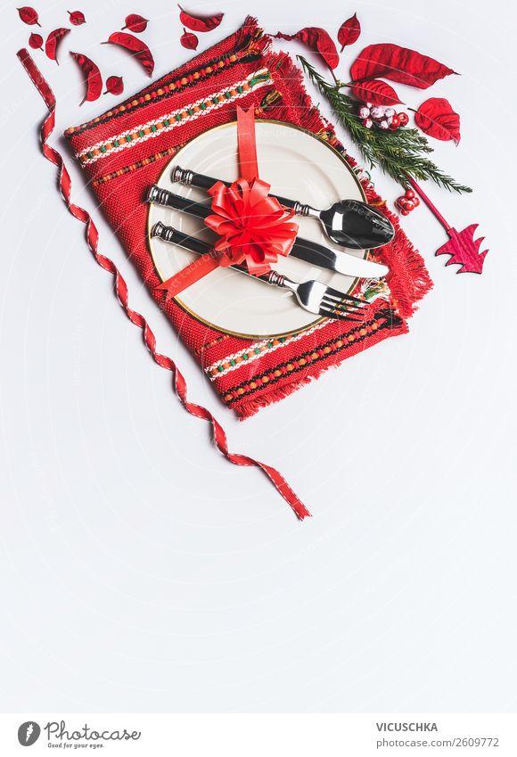 Festliche Tischdekoration für Weihnachten Ernährung Festessen Geschirr Teller Besteck Stil Design Party Veranstaltung Restaurant Feste & Feiern