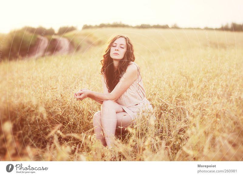 Porträt feminin Junge Frau Jugendliche Erwachsene Körper 1 Mensch 18-30 Jahre Natur Erde Sonnenaufgang Sonnenuntergang Herbst Schönes Wetter Gras Nutzpflanze