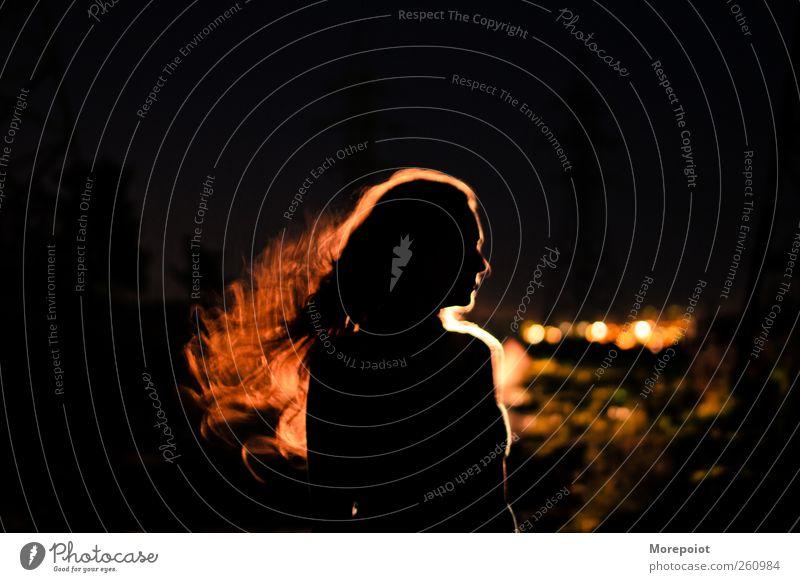 Das Licht in ihrem Haar feminin Junge Frau Jugendliche Erwachsene Kopf Haare & Frisuren 1 Mensch 18-30 Jahre Sommer rothaarig langhaarig Locken schwarz Gefühle