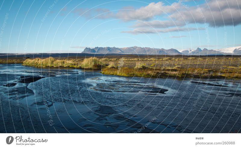 Delta Himmel Natur blau Wasser Ferien & Urlaub & Reisen ruhig Umwelt Wiese Landschaft Berge u. Gebirge See Horizont wild groß Reisefotografie Urelemente