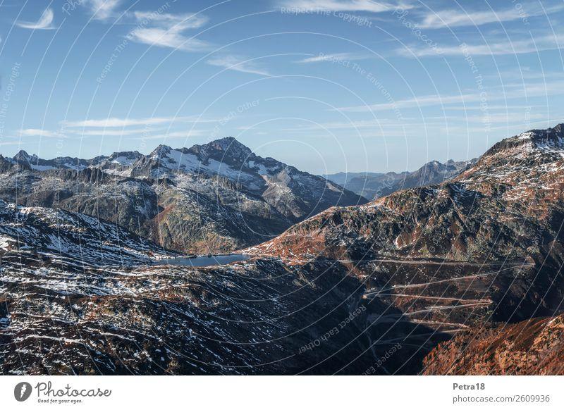 Bergwelt Schweiz Himmel Natur Ferien & Urlaub & Reisen blau Landschaft weiß Ferne Berge u. Gebirge Herbst Sport Tourismus orange braun Ausflug wandern Horizont