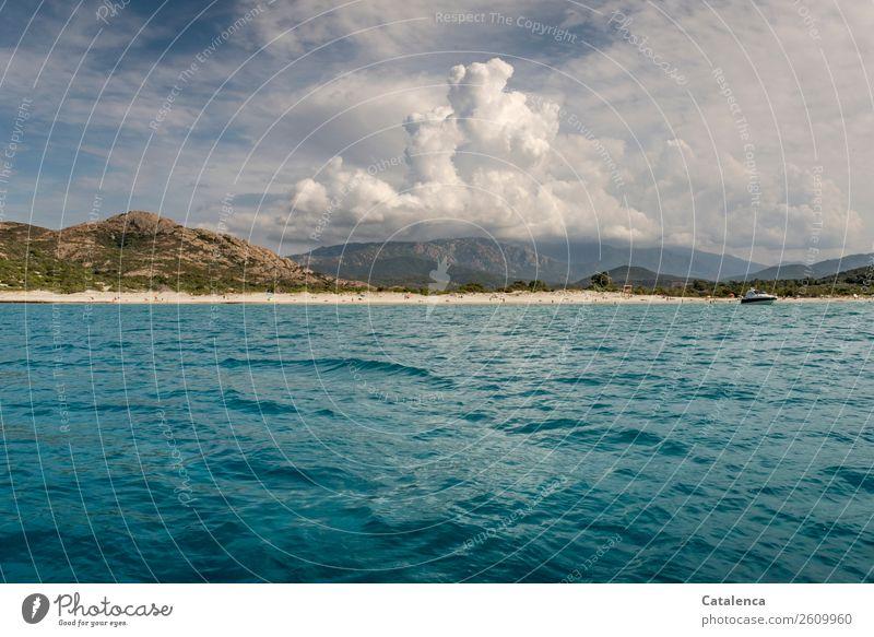 Mehr Meer Tourismus Sommerurlaub Sonnenbad Strand Mensch Menschengruppe Landschaft Sand Wasser Himmel Wolken Wetter Schönes Wetter Wellen Küste Mittelmeer