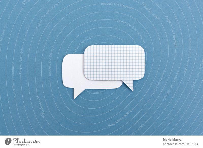 Dialog mit zwei Sprechblasen Werbebranche Sitzung sprechen Team Kommunizieren Erfolg frei frisch Zusammensein modern blau weiß Tugend Ehrlichkeit Interesse