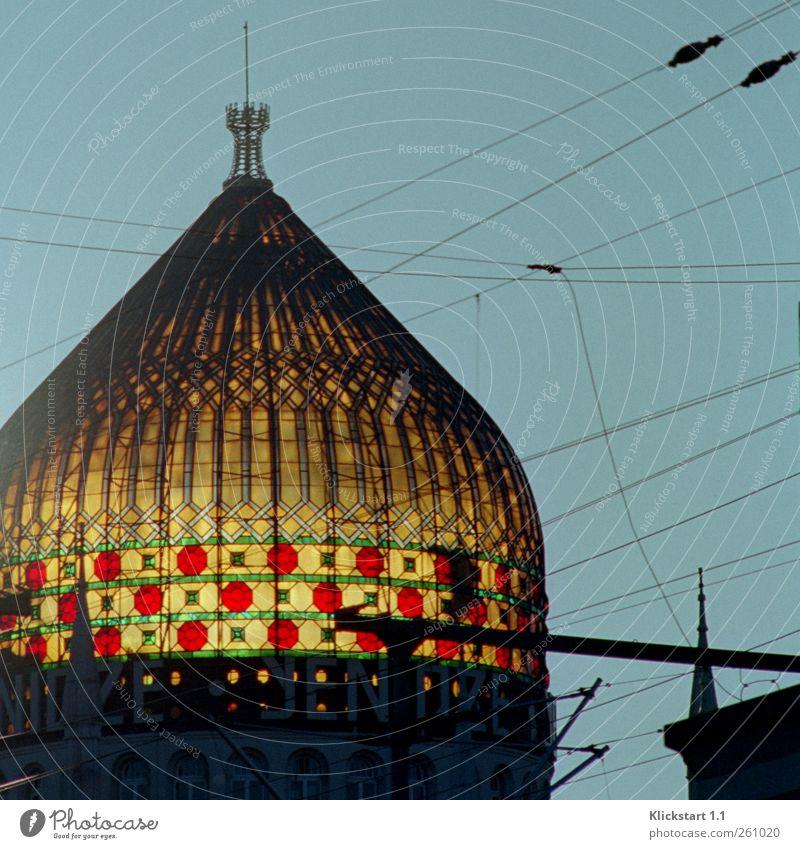 B@DD 11 | Yenidze Architektur Dresden Fabrik Kirche Dom Bauwerk Gebäude Moschee Tabakfabrik Fenster Kuppel Sehenswürdigkeit Denkmal Hochspannungsleitung Glas