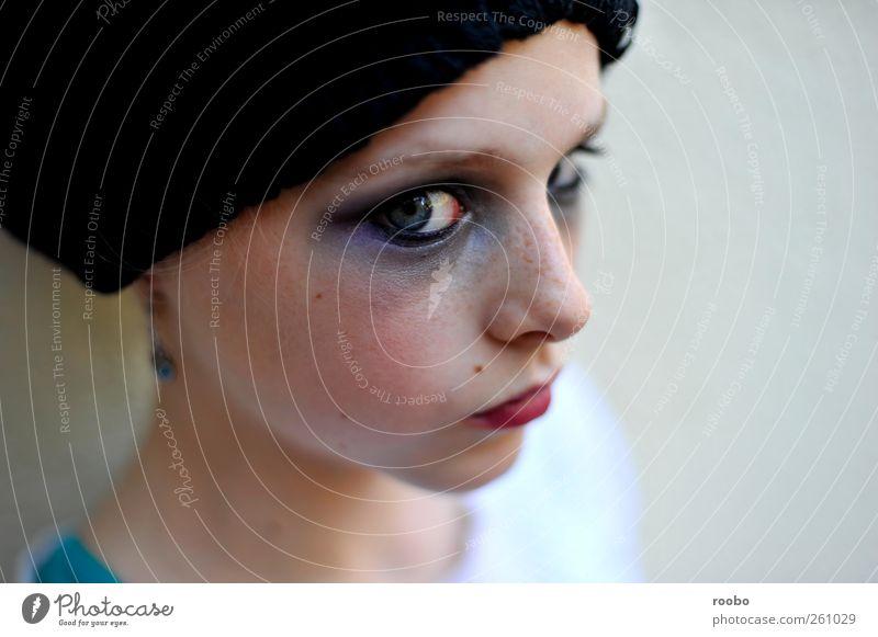 Mensch Kind Jugendliche Mädchen Junge Frau Gesicht Auge feminin Gefühle lustig Stimmung verrückt 13-18 Jahre dünn nah trendy