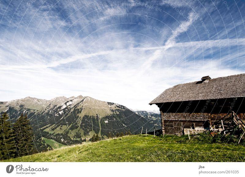 Satteleggli Himmel Natur Sommer Erholung Landschaft ruhig Wolken Haus Berge u. Gebirge Leben Herbst Wiese Freiheit Zufriedenheit wandern Ausflug