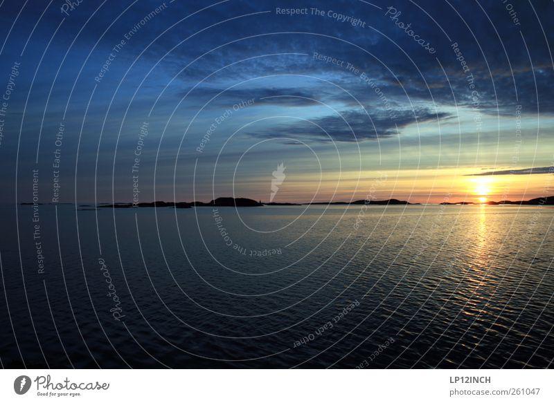 Solnedgang Ferien & Urlaub & Reisen Tourismus Ausflug Abenteuer Ferne Freiheit Sommerurlaub Meer Natur Landschaft Wasser Himmel Wolken Sonne Sonnenaufgang