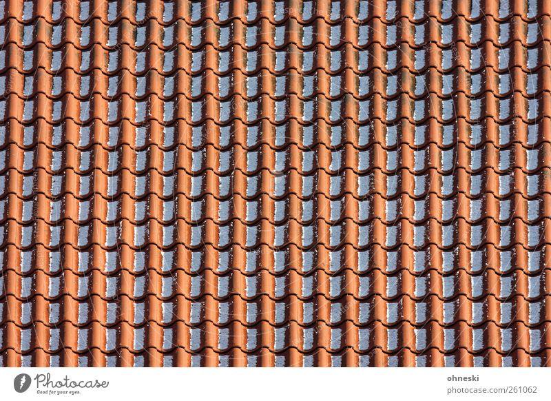 Ordnung Handwerker Dachdecker Winter Schnee Haus Dachziegel Linie rot Ordnungsliebe Farbfoto Außenaufnahme abstrakt Muster Strukturen & Formen Menschenleer