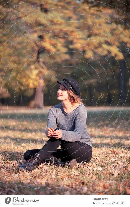 #A# Tag im Park 1 Mensch ästhetisch Erholung Herbst herbstlich Herbstlaub Herbstfärbung Herbstbeginn Herbstwald Herbstwetter Frau Mode Model Modellfigur sitzen