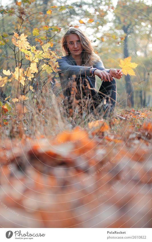 #A# Herbsttag Umwelt Natur Zufriedenheit herbstlich Herbstlaub Herbstfärbung Herbstbeginn Herbstwald Herbstwetter Frau Model Farbfoto Gedeckte Farben