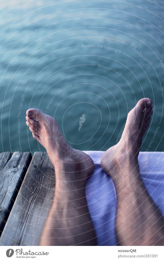 Füße hoch. Jugendliche Wasser Ferien & Urlaub & Reisen Sommer ruhig Leben Freiheit Kunst Fuß Zufriedenheit ästhetisch Pause Seeufer Steg leicht Sommerurlaub