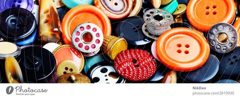 Nähknöpfe einstellen Schaltfläche Nähen Mode nähen Bekleidung Schneider Design kreisen Hintergrund Faser Garnspulen Sammlung Kunststoff farbenfroh Handarbeit