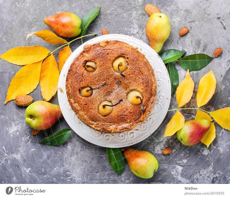 Hausgemachter Herbst-Birnenkuchen herbstlich Pasteten Lebensmittel süß Dessert Kuchen selbstgemacht Torte Frucht gebacken Bäckerei lecker Frühstück Zucker