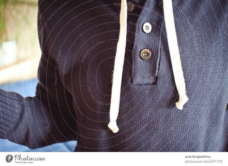 pull.over maskulin Junger Mann Jugendliche Erwachsene 1 Mensch Mode Pullover Wolle Strickpullover Knöpfe natürlich schön Wärme weich blau einzigartig kalt