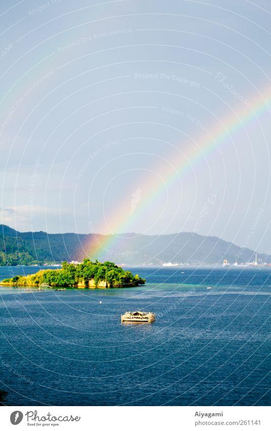 Ende des Regenbogens Natur Landschaft Luft Wasser Erde Himmel Sommer Schönes Wetter Meer Insel Ferien & Urlaub & Reisen exotisch schön Wärme blau mehrfarbig