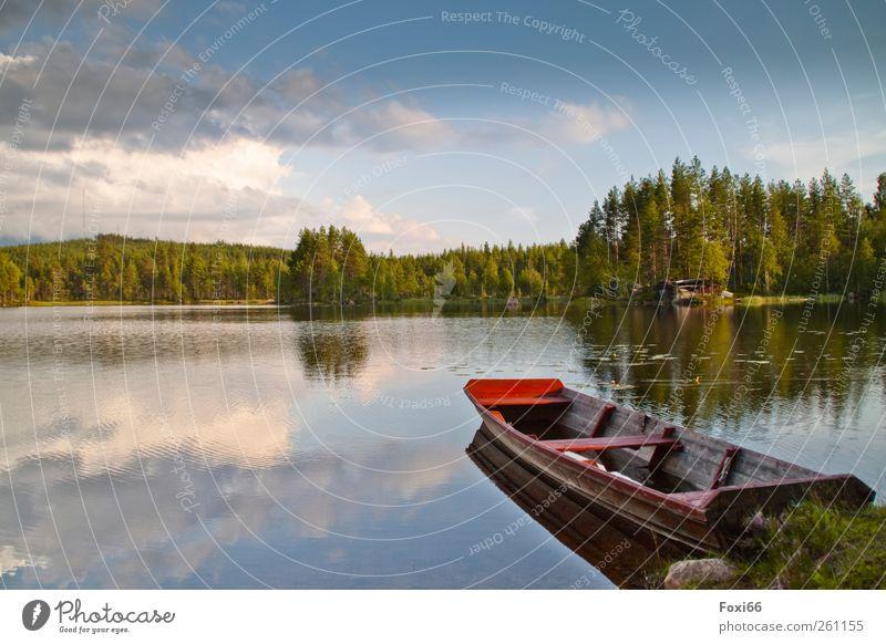 mein Haus,mein Boot..... Himmel blau Wasser grün Baum rot Ferien & Urlaub & Reisen Sommer Wolken Liebe Erholung Umwelt Landschaft Freiheit Holz