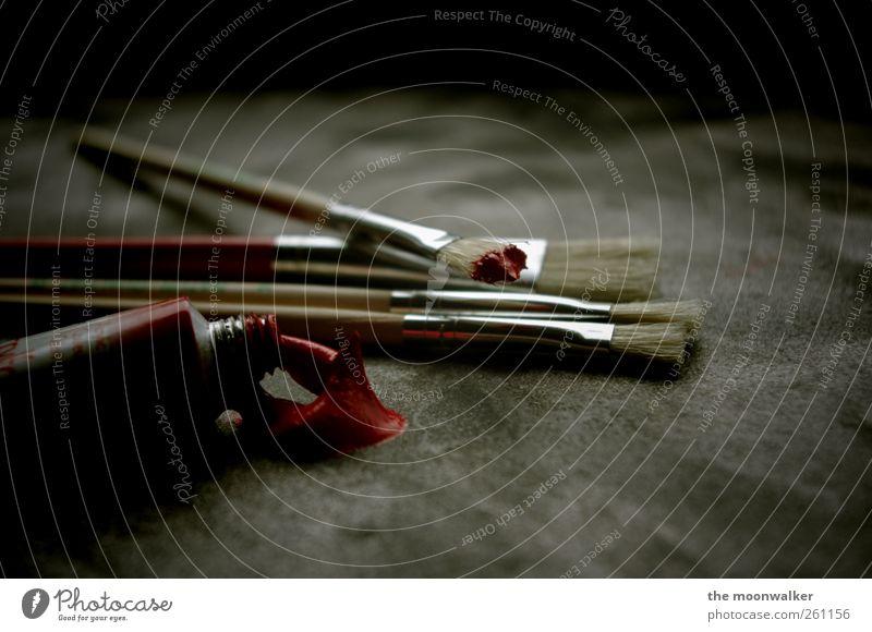 rote farben Kunst Künstler Maler Kunstwerk Schreibwaren Tube Dekoration & Verzierung Pinsel Farbstoff Stein Beton dunkel Flüssigkeit einzigartig grau schwarz