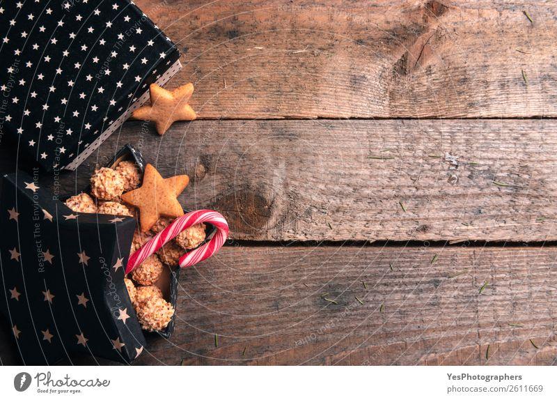 Weihnachten & Advent Freude Winter Textfreiraum Geschenk Stern (Symbol) Postkarte Tradition Dessert Holztisch rustikal Entwurf Plätzchen Transparente Lebkuchen