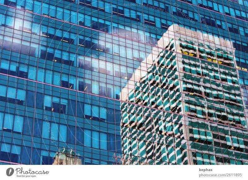 Haus in Haus blau Stadt grün Fenster Architektur Gebäude Business Fassade modern Hochhaus Glas ästhetisch Bauwerk Städtereise Stadtzentrum