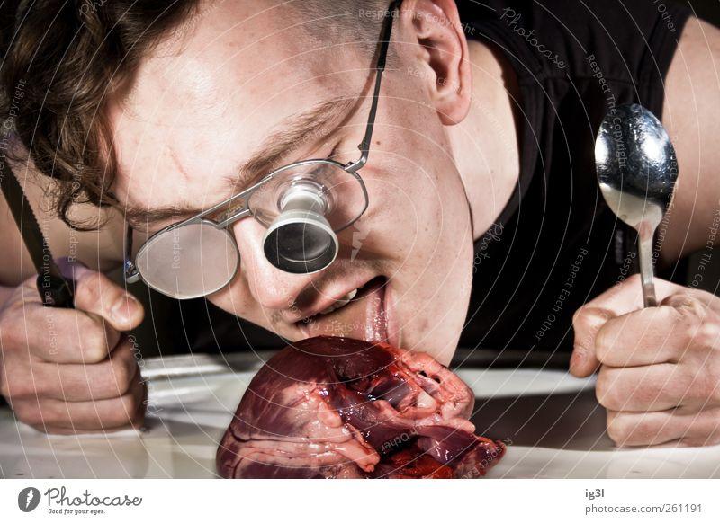 Valentinstag - Innere Werte #2 Mensch Mann Jugendliche Erwachsene Leben Gefühle lustig Essen Herz 18-30 Jahre Brille Junger Mann Appetit & Hunger Blut Fleisch