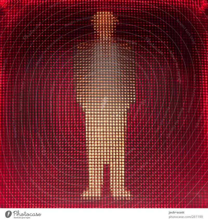 STOP! Japaner steht bei rot auf einer Seite Technik & Technologie Signal Grafik u. Illustration Öffentlicher Personennahverkehr Fußgänger Ampel Verkehrszeichen
