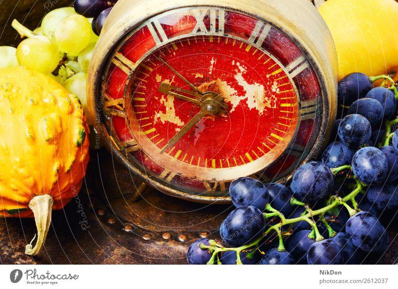 Schöne Herbsternte und Uhr Kürbis Dekoration & Verzierung fallen Ernten retro Zeit Alarm Konzept altehrwürdig Stunde Zeitschaltuhr November Zeitmesser